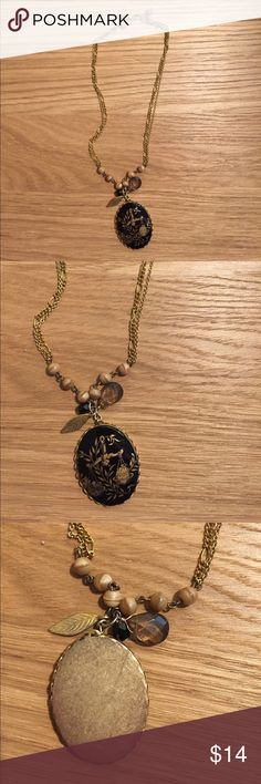 """Anthropologie Libra Necklace Gold Black Fun Anthropologie Libra necklace • double chain and Libra charm • made by """"David Aubrey"""" Anthropologie Jewelry Necklaces"""