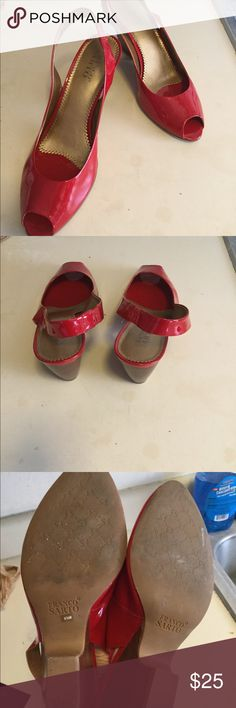 Franco sarto red sling backs In good preowned condition has a little wear on the bottoms still looks pretty good Franco Sarto Shoes Heels