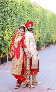 North Indian bride n groom Punjabi Wedding Couple, Sikh Wedding, Wedding Suits, Wedding Couples, Punjabi Couple, Farm Wedding, Boho Wedding, Wedding Ideas, Wedding Shoot