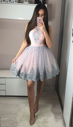 Cute A-Line Round Neck Knee-Length Pink Homecoming Dress with Appliques Short Prom Dresses Party Gown Homecoming Dresses A-Line, Prom Dresses Pink, Cute Prom Dresses, Prom Dresses Short, Prom Dress Short Homecoming Dresses Modest Homecoming Dresses, Hoco Dresses, Prom Party Dresses, Party Gowns, Quinceanera Dresses, Sexy Dresses, Pink Dresses, Wedding Dresses, Summer Dresses