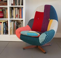 This beautiful chair is made from different pieces of knitted fabric.  Make a statement in your home with this one-of-a-kind piece by Melanie Porter.