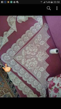 Fillet Crochet, C2c Crochet, Crochet Borders, Crochet Trim, Crochet Lace, Crochet Curtain Pattern, Crochet Curtains, Holiday Crochet Patterns, Baby Knitting Patterns