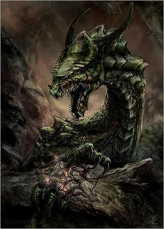 In Norse mythology, Níðhöggr (Malice Striker, often anglicized Nidhogg) is a dragon who gnaws at a root of the world tree, Yggdrasil. In historical Viking society, níð was a term for a social stigma implying the loss of honor and the status of a villain. Nidhogg chewed the corpses of the inhabitants of Náströnd: those guilty of murder, adultery, and oath-breaking, which Norse society considered among the worst possible crimes. (Wikipedia) Image by Nightpark (Image #200075)