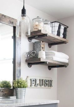 Set of 2 industrial farm house shelves. Small Bathroom Remodel On A Budget Bathroom Makeover, Shabby Chic Bathroom, House Shelves, Home Decor, Industrial Bathroom, Farmhouse Master Bathroom, Chic Bathroom Decor, Bathroom Design, Bathroom Redo
