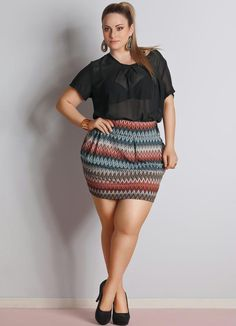 Saia Zig Zag Plus Size - Quintess