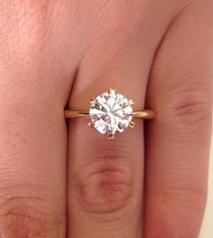 perfect! Thin band 18K yellow gold 2 00 Ct Round Cut Diamond Solitaire 6 prong setting Engagement Ring | eBay