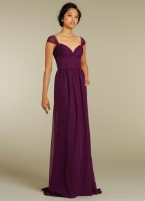violet chiffon long evening dress uk with cap sleeves