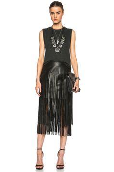ThePerfext Linda Double Fringe Leather Skirt in Black in Black | FWRD $1,380