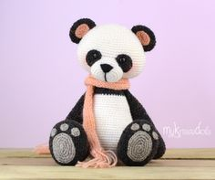 This is a crochet pattern (PDF file) NOT a finished doll you see on the photos! Crochet pattern available in: Deutsch, English, Español & Nederlands. My Little Panda Bear turns out at a size of 18 cm with the yarn I used (sockyarn). Crochet Panda, Crochet Teddy, Crochet Bear, Cute Crochet, Crochet Animals, Crochet Dolls, Crochet Pillow, Baby Knitting Patterns, Craft Patterns