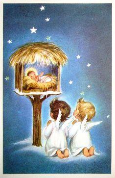 Risultato immagine per Vintage Christmas Angels Vintage Christmas Images, Old Fashioned Christmas, Christmas Scenes, Christmas Nativity, Christmas Past, Retro Christmas, Vintage Holiday, Christmas Pictures, Christmas Angels