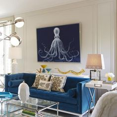 Jonathan Adler. Nautical never looked so notable! A fabulously fun living room space with bold color galore!