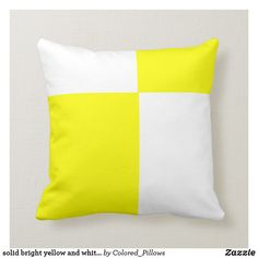 Shop solid bright yellow and white pillow created by Colored_Pillows. Yellow Pillows, Throw Pillows, Custom Pillows, Decorative Pillows, Perfect Pillow, Bright Yellow, Room Interior, Your Design, Color Schemes