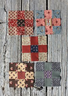 Temecula Quilt Company: Anniversary Quilt -Block 5 of Cutting instructions are for one block. cut one square - center cut four squares - corners cut four squares Square block to Small Quilts, Mini Quilts, Quilt Blocks Easy, Mini Quilt Patterns, Postage Stamp Quilt, Primitive Quilts, Nine Patch Quilt, Civil War Quilts, Miniature Quilts