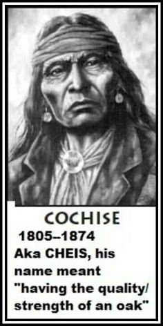 Chiricahua Apache Chief Cochise: No known picture was ever taken of him. But descriptions, paintings, and sketches were recorded. This sketch is faithful to the common ground between all of the records.