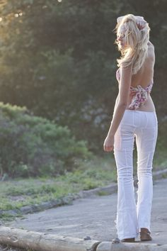 Sonas Denim Marina white patchwork flared jeans, perfect for those sun drenched days.