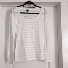 Express white stripped boat neck long sleeve shirt Express white stripped boat neck long sleeve shirt. Every other strip is sheer with lace design. Express Tops Tees - Long Sleeve