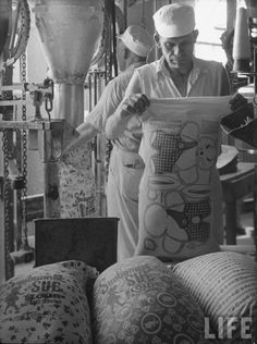 The sacks came with bright, colorful designs, and sometimes patterns for toys — like the one seen here being filled with flour for delivery. The sacks were labeled, but the ink was washable.