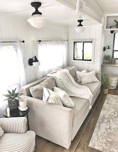 Tiny House Living, Rv Living, Living Spaces, Rv Homes, Travel Trailer Remodel, Caravan Renovation, Rv Interior, Camper Makeover, Remodeled Campers