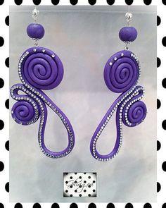 clear crystal glittered purple polymer clay earrings by ghjrigori, $52.00
