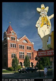 Giant Cactus Jack sign and brick building. Carson City, Nevada, USA