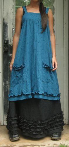 Layered #dress and ruffles. pinafore apron, ruffl, aprons, eyelet short, pinafor apron, boho, pinafore dress, blues, black