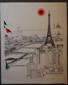 Original lithograph on Paris and Eiffel Tower sunset on the