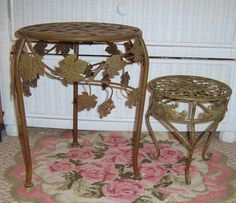 Upcycled Plant Stands TWO stands Green Metal by ShabbyGardenDecor, $40.00