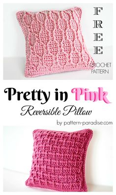 Free crochet pattern for essentials Pretty In Pink Pillow by Pattern-Paradise.com #crochet #patternparadisecrochet #throwpillow #pillow #homedecor