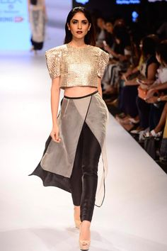 Basant crop top and pants set available only at Pernia's Pop Up Shop. #lakmefashionweek #payalsinghal #clothing #ramp #designer