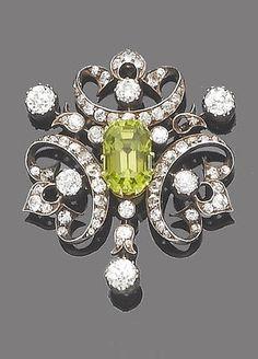 A late 19th century peridot and diamond brooch, circa 1880. #fashion #Beauty