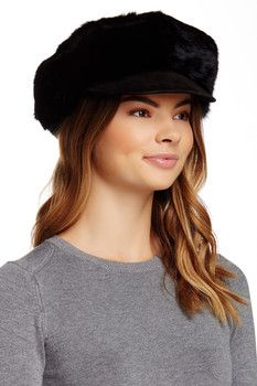 Surell Genuine Fur Rabbit Suede Newsboy Hat