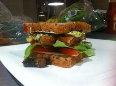 Big Boys Sandwich! Garlic Mushrooms| Frys Vegan Schnitzel | Vegan Tofu Cheese Slices| Tomatoes | Lettuce | Wholegrain Mustard | Chunky Avocado