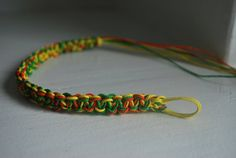 Green, Yellow, and Orange Hand Made Hemp Anklet