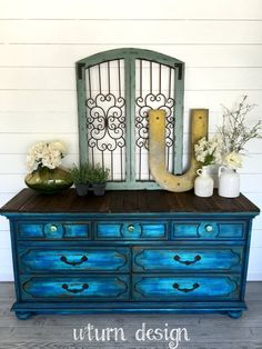 Sold colbalt blue painted dresser buffet tv stand by UTurnDesign Hand Painted Furniture, Funky Furniture, Refurbished Furniture, Paint Furniture, Upcycled Furniture, Unique Furniture, Shabby Chic Furniture, Furniture Projects, Furniture Makeover
