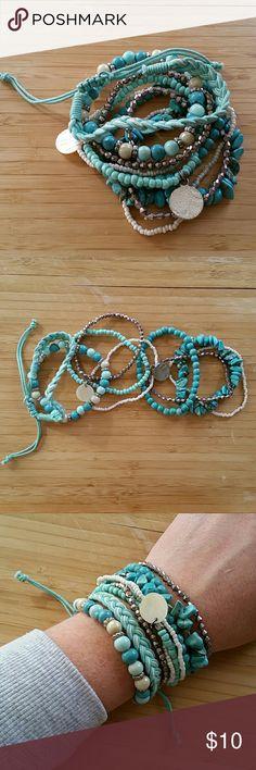 Bracelet Bundle Bundle of Turquoise, Silver, & White Stretchy Bracelets . Jewelry Bracelets