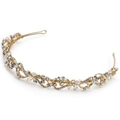 USABride Gold-Tone Floral Bridal Headband, Rhinestone and Swarovski Crystal, 3159-G -- Continue to the product at the image link.