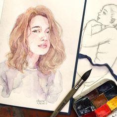 Watercolor portrait painting | watercolor people art | watercolor portraiture | pretty girl drawing by Cynthia Bauzon Arre, http://www.instagram.com/arncyn