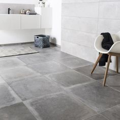 Carrelage sol et mur gris cendre effet béton Harlem l.60 x L.60 cm