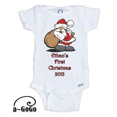 Personalized First Christmas 2013 Onesie by aGoGoDesignTShirts, #baby #christmas