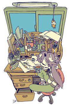 いつもの机。