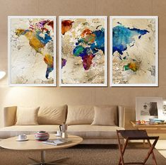 World Map Watercolor Watercolor World Map Large by FineArtCenter