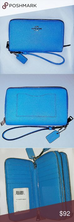 NWT $140.00 BRIGHT BLUE COACH WRISTLET WALLET BAG *** the only one i found by searching on ebay was listed for $125***    PVC Coated Canvas Leather   Comes with a Coach gift box.     Style Number:  Color: Azure. Bright vibrant blue   Design: double zip wallet, wristlet, cell phone case.  Material: PVC Coated Canvas Leather  Measurements:  Strap: wristlet.  Retail: $140.00 Coach Bags Clutches & Wristlets