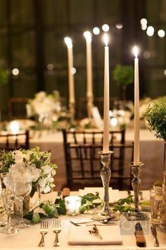 long, candlelit tables at the Bowery Hotel Photography by Christian Oth Studio / christianothstudio.com, Event Planning by Lyndsey Hamilton Events / LHEvents.com, Floral Design by Belle Fleur / bellefleurny.com