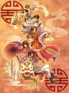 Hetalia ~~~ The mystical Orient ::: From the top: S. Korea, Japan, China, Taiwan, and Vietnam.