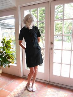 Vintage mod black dress polyester knit gogo pop scooter girl retro short sleeve urban casual crisp dolly bird: medium by BopandAwe on Etsy