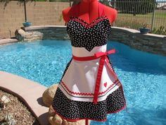 Sassy Apron, I Love Lucy Inspired, Pin Up, Womens Misses and Plus Sizes, Handmade, Kitchen, Gift Ideas, Sweetheart Bib, Robert Kaufman Remix on Etsy, $36.95