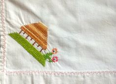 Handmade Hand Guest Towel - Vintage Linen:  Cross Stitch Decoration by TheBusyTipsyGipsy on Etsy