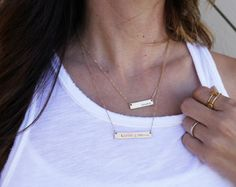 Vertical Bar Necklace Name Bar Necklace Personalized Kids