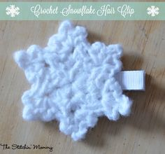 A quick, easy, and festive pattern for a crochet snowflake that you can turn into a hair clip!