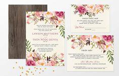 Vietnamese Wedding Invitation Reception by InvitationsByTiffany